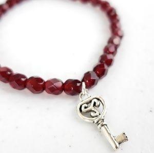 Ruby Red Czech Glass Key Charm Bracelet